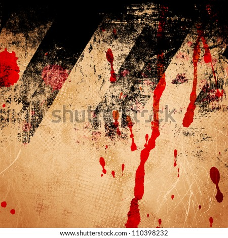 Grungy background with blots of blood - stock photo