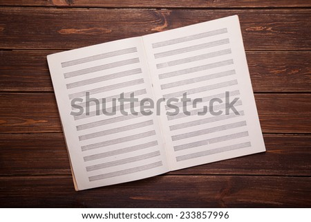 grungy blank paper sheet for musical notes - stock photo