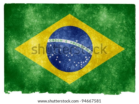 Grungy Brazilian Flag on Vintage Paper - stock photo