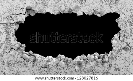Grungy Broken Concrete Wall. (Animation for this image see in my footage gallery) - stock photo