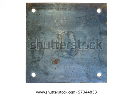 Grungy brushed rusty metal sign - stock photo