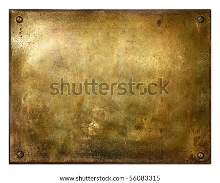 Grungy brushed yellow metal brass plate with screws - stock photo