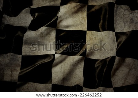 Grungy checkered black and white racing flag  - stock photo