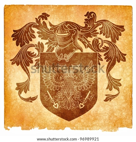 Grungy Coat of Arms Featuring a Double-Headed Byzantine Eagle (with sepia toning for a more aged look) - stock photo
