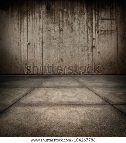 Grungy concrete room texture - stock photo