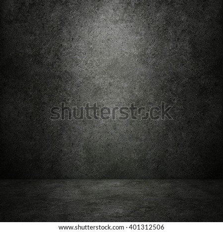 Grungy concrete wall and stone floor room as background, 3D rendering