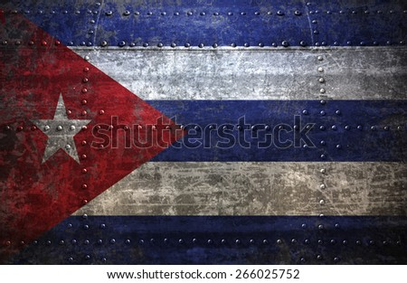 Grungy Cuba  flag On a  Metal Texture - stock photo