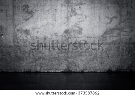 Grungy dark concrete wall and wet floor for background texture - stock photo