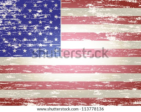 Grungy faded and distressed American flag background - stock photo