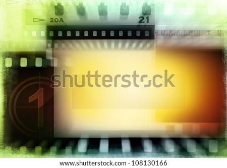 Grungy film negatives background. Copy space - stock photo