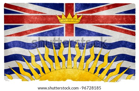 Grungy Flag of British Columbia on Vintage Paper