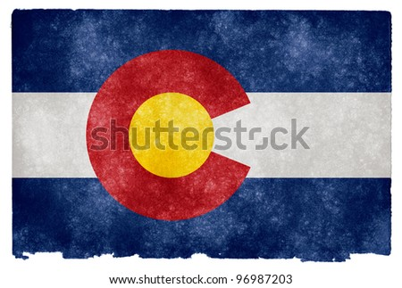 Grungy Flag of Colorado on Vintage Paper - stock photo