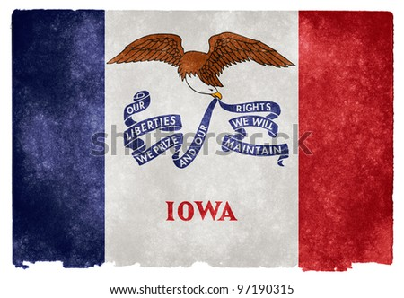 Grungy Flag of Iowa on Vintage Paper - stock photo