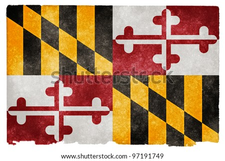 Grungy Flag of Maryland on Vintage Paper - stock photo