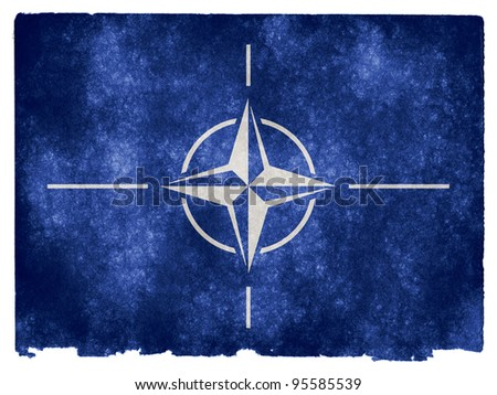 Grungy Flag of NATO on Vintage Paper - stock photo