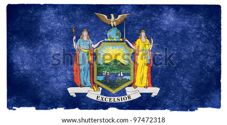 Grungy Flag of New York State on Vintage Paper - stock photo