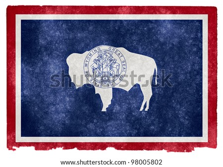 Grungy Flag of Wyoming on Vintage Paper - stock photo