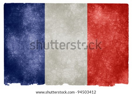 Grungy French Flag on Vintage Paper