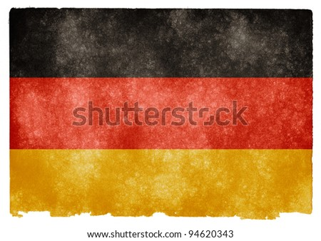 Grungy German Flag on Vintage Paper - stock photo