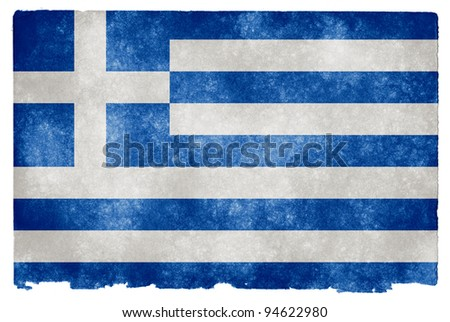 Grungy Greek Flag on Vintage Paper - stock photo