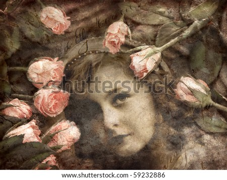 Grungy image of girl and roses - stock photo