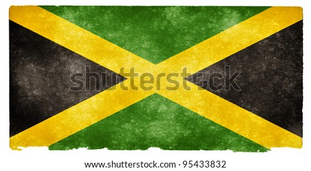 Grungy Jamaican Flag on Vintage Paper - stock photo