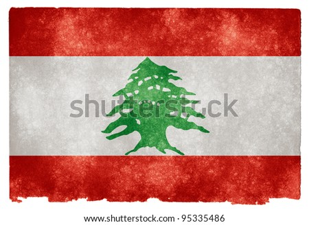 Grungy Lebanese Flag on Vintage Paper