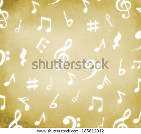 Grungy old background with white music notes - stock photo