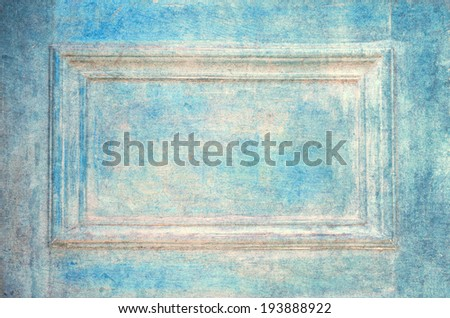 Grungy old blue door closeup - stock photo