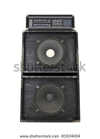 Grungy old torn and frayed 800 watt bass amp with huge 15 inch speakers. - stock photo