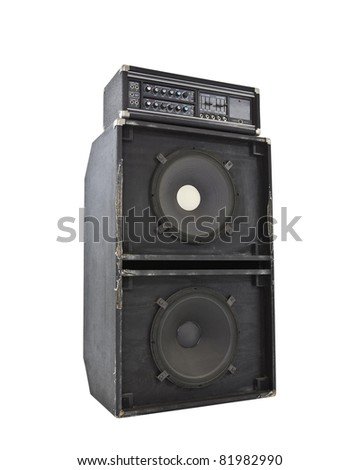 Grungy old 800 watt bass amp with huge 15 inch speakers.  Simulates earthquakes at high volume. - stock photo