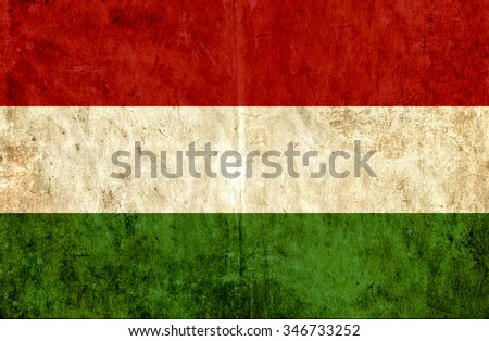 Grungy paper flag of Hungary - stock photo