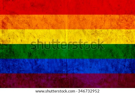 Grungy paper flag of LGBT - stock photo