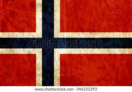 Grungy paper flag of Norway - stock photo