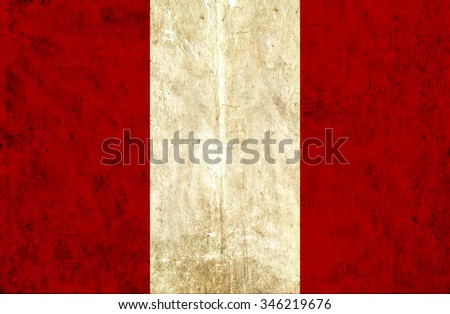 Grungy paper flag of Peru - stock photo