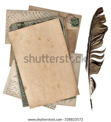 Grungy paper page, antique postcards and vintage ink pen isolated on white background - stock photo