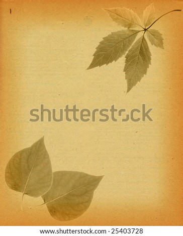 Grungy piece of paper with leaves overlayed on top.