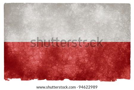 Grungy Polish Flag on Vintage Paper - stock photo