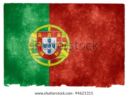 Grungy Portuguese Flag on Vintage Paper - stock photo