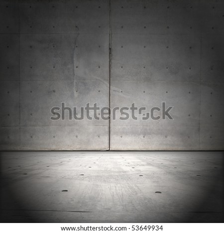 Grungy raw concrete wall and floor - stock photo