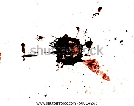 Grungy red and black blood splatter isolated on white - stock photo