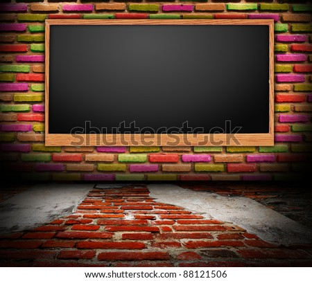 Grungy room brick wall with Blackboard.  interior Uneven diffuse lighting version. Design component