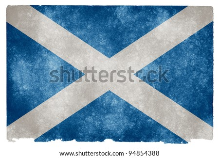 Grungy Scottish Flag on Vintage Paper - stock photo