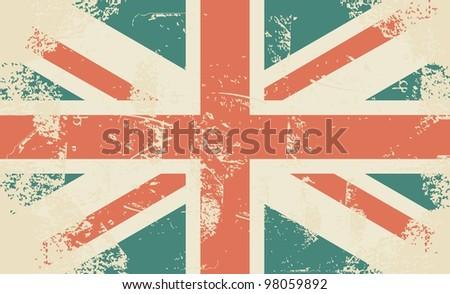 grungy UK flag - stock photo