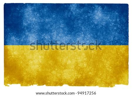 Grungy Ukrainian Flag on Vintage Paper - stock photo