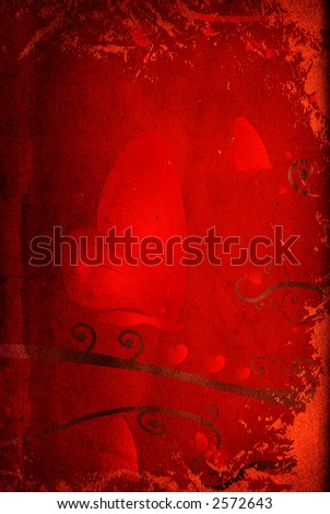 grungy valentine design, red hearts and butterflies - stock photo