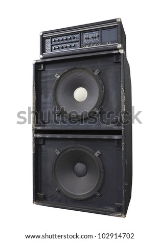 Grungy vintage bass amp with huge 15 inch speakers.  Thrashed from decades of heavy metal gigs. - stock photo