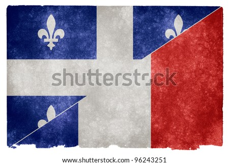 Grungy vintage flag split between Quebec and France (often used to represent the French language) - stock photo