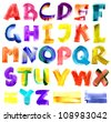 Grungy watercolor alphabet - stock photo