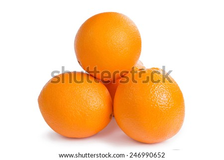 Grupe of orange fruits isolated on white background - stock photo